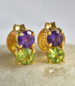 Sterling Silver Amethyst And Peridot Divine Ear Studs.