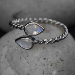 Rainbow Moonstone Twisted Wire Ring.