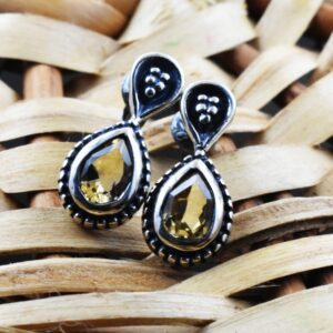Natural Citrine Pear Shape Faceted Cut Divine Earring.
