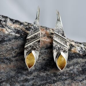 Silver Hammered Citrine Spiritual Earrings.