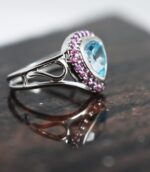Trillion Blue Topaz Rhodolite Ring.