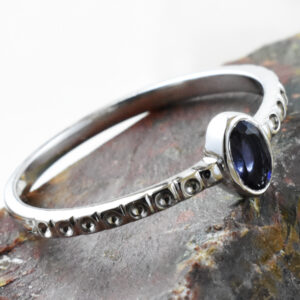Oval Iolite Dot Ring.