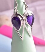 Natural Amethyst Pear Shape Spiritual Hammered Earrings.