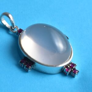 Sterling Silver Rose Quartz, Ruby Spiritual Pendent.