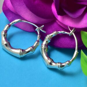 Bamboo Style Silver Tiny Plain Hoop HandCrafted.