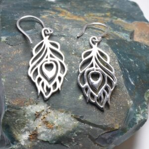 Silver Peacock Feather Bird Bohemian Earrings.