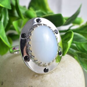 Oval MoonStone,Black Onyx Unique Spiritual Ring.