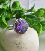 Estate Silver Ruby Amethyst Accents Ring.
