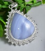Blue Lace Agate Forged Pendant.