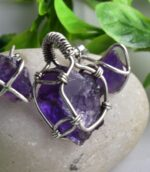 Raw Natural Amethyst,Wire Wrapped Spiritual Pendant.