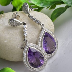 10k Gold Purple Amethyst Dangle Divine Earrings.