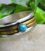 Mix Metal Hammered Turquoise Spinner Anxiety Ring.