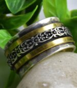 Sterling Silver And Brass Two Tone Floral Spinner Divine Ring