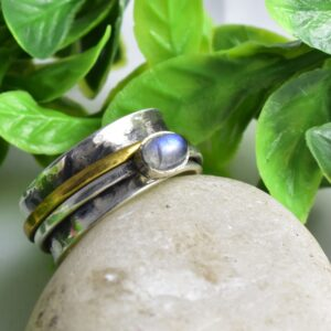MoonStone Hammered Spinner Divine Ring