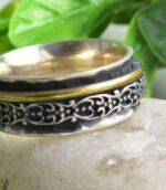 Two Tone Floral Spinner Womens Fidget Botanical Divine Ring.