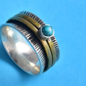 Silver Turquoise Meditation Fidget Ring.
